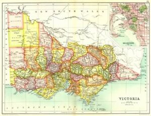 Map Showing Australia.Victoria State Map Showing Counties Inset Map Of Melbourne