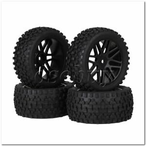 4x-RC-1-10-Plastic-16-Spoke-Wheel-Rims-H-Type-Rubber-Tyres-Black-for-Buggy