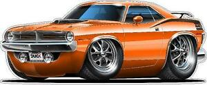 1970 Plymouth Cuda 440 Muscle Car Cartoon Art Wall Decal Sticker
