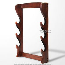 Wall Mounted 3 Tier Solid Wood Samurai Sword Display Stand with Black Velvet