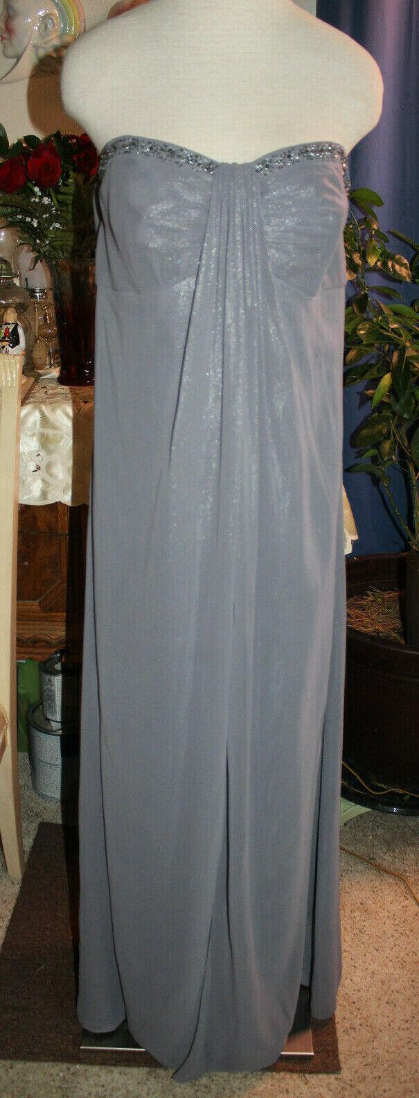 Davids Bridal pewter gray shiny chiffon formal bridesmaids wedding long dress 18