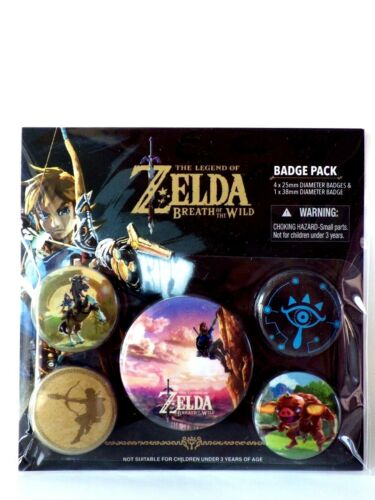 ZELDA breath of the Wild official Badge pack Cadeau Fan Fun Pack 5 badge neuf