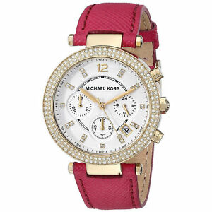 Michael-Kors-Parker-Stainless-Steel-Dial-Pink-Leather-Strap-Chrono-Watch-MK2297
