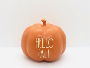 Rae-Dunn-Halloween-Collection-By-Magenta-Ceramic-Orange-HELLO-FALL-Small-Pumpkin