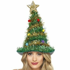 Christmas Tree Hat Star Tinsel Baubles Christmas Women s Fancy Dress ... 5e92d5f7d2