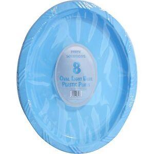 6 X Oval Blue Plastic Plates Platters Birthday Bbq Party