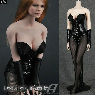 good looking high fashion elegant shoes ZY Toys 1/6 Sexy Black Leather Lingerie Clothing Set For 12