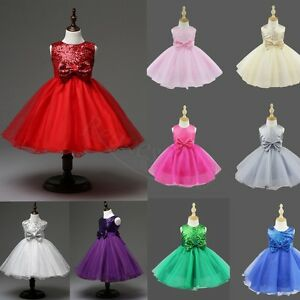 UK-Kids-Baby-Flower-Girls-Party-Sequins-Dress-Wedding-Bridesmaid-Princess-Gown
