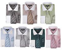 Men's Mini Plaid /check Design Dress Shirt French Cuff With Tie&hanky Ah624