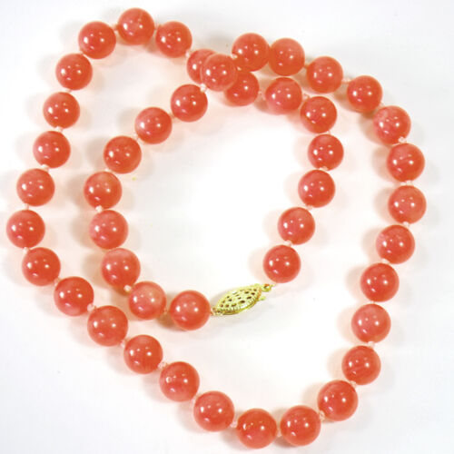 """Pink Coral Round Beads Hand Knotted 14k Gold Filled Clasp Necklace 18/"""" FREE SHIP"""