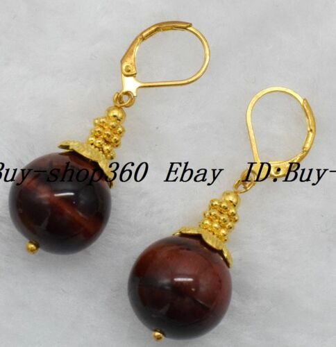 New Handmade 14 mm round red tiger/'s Eye Or Crochet Boucles D/'oreilles #DC-095