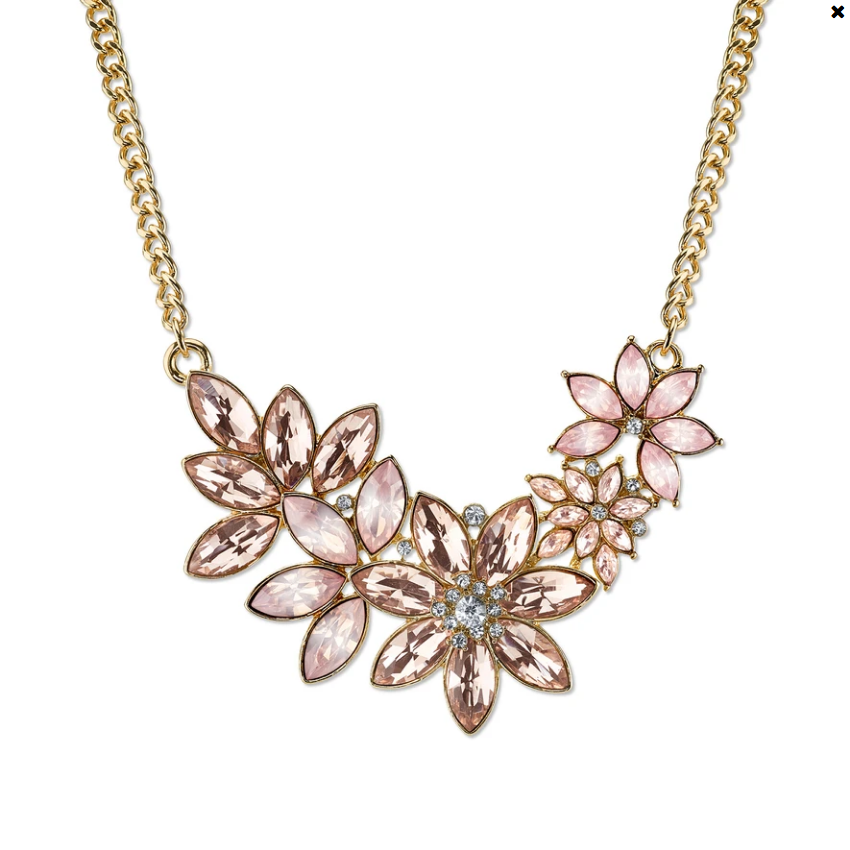 1928 Jewelry Gold-Tone Peach, Rose Pink and Crystal Flower Bib Necklace 16 In Ad