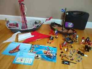 PLAYMOBIL-PIRATE-sets-LOT-Serpent-Ship-Dinghy-Carrying-Case-Pirates