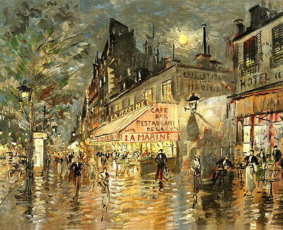 Canvas Print Paris Street oil painting Picture Printed on canvas 16x20 Inches