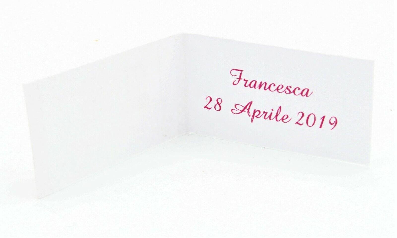 Bigliettini Bomboniera Bomboniera Bomboniera Primo Compleanno Battesimo rosa Stampa Professionale 3e093b