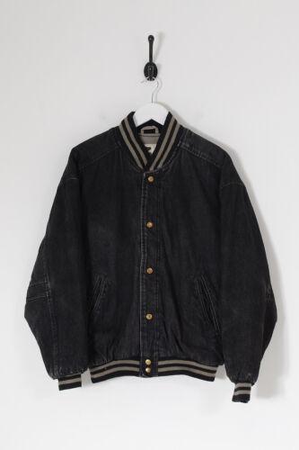 Vintage Men's Denim Varsity Jacket Charcoal (s)
