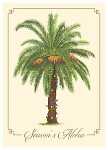 6 Hawaiian Holiday Cards Hawaii Christmas Palm Tree Christmas