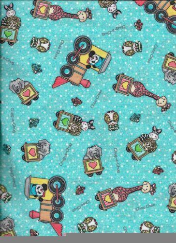 New Light Blue Bazooples Choo Choo Toss 100/% Cotton Fabric by the half-yard