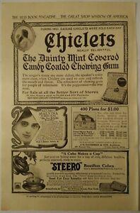 1911-Antique-PAPER-PRINT-AD-CHICLETS-chewing-gum-malvina-cream-Steero-Marlin-gun