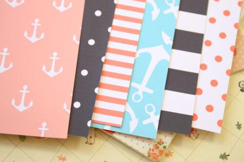 Coastal Anchors printed Card Stock 250gsm dots chevron wedding craft postcards