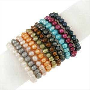 Set of 10 Multi colored Pearl Stretch Bracelets (8-9mm)