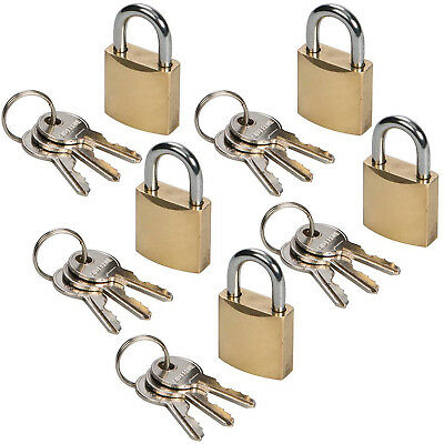 """1/"""" SMALL STRONG SUITCASE SECURITY LOCK 2 x SOLID BRASS KEYED PADLOCK 25mm"""
