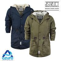 Mens Winter Coat by D-Struct 'Talum' Hooded Parka Jacket Fur Hood Sizes S-XL