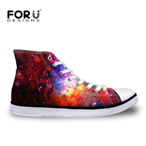Space Galaxy Mens High Top Casual Shoes Canvas Sneakers Flat Shoes Plimsoll