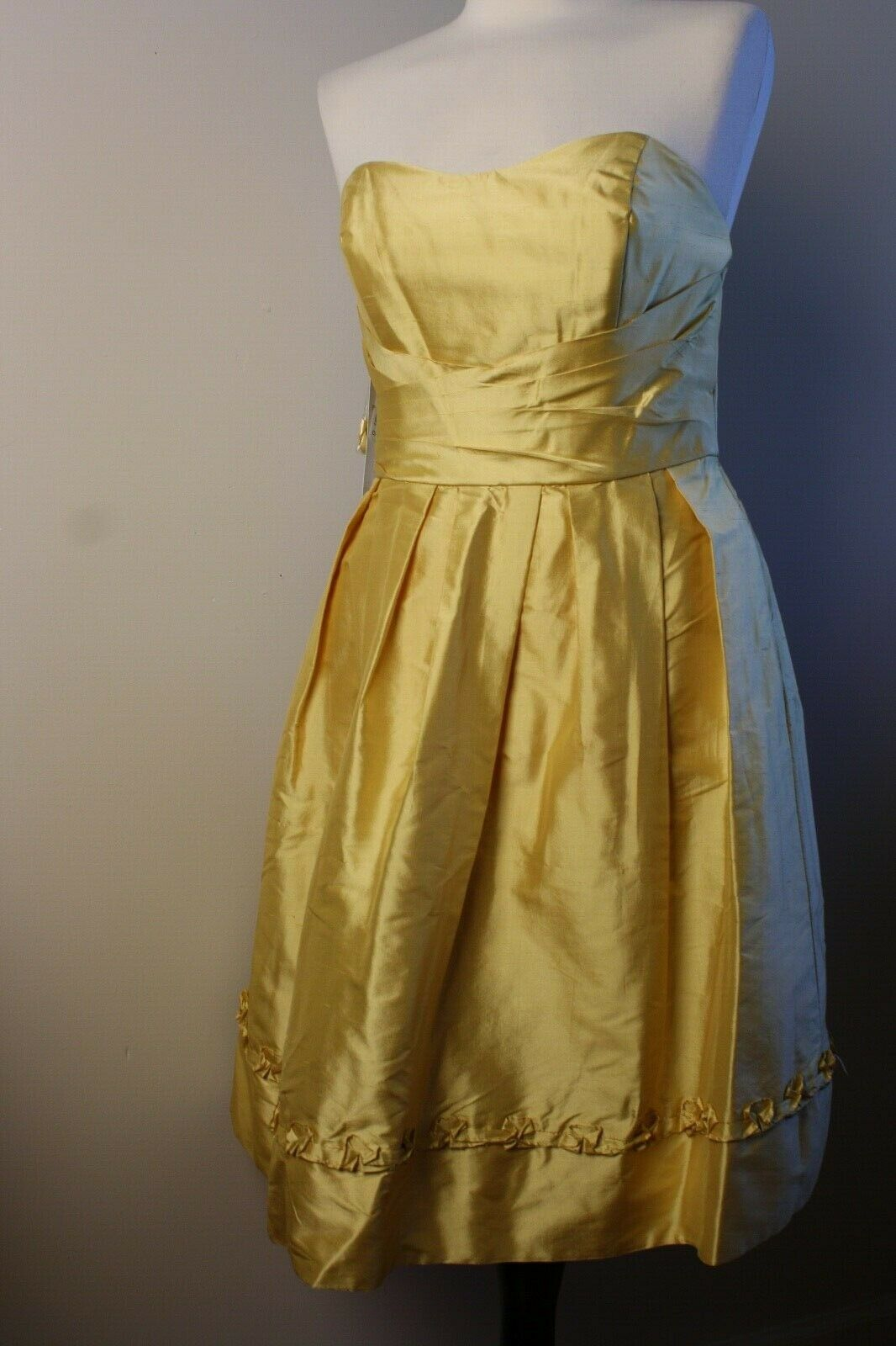 NWT Purely Alfred Angelo 6 Maize Yellow Silk Strapless Bridesmaid Dress 7103