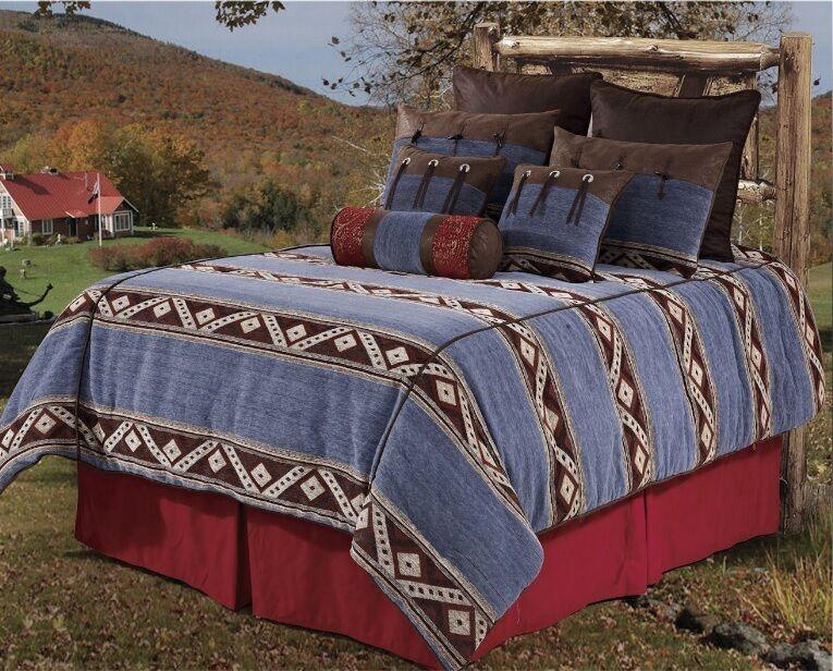 NEW Western Rustic Country Southwest Denim Comforter 5 piece Bedding Set