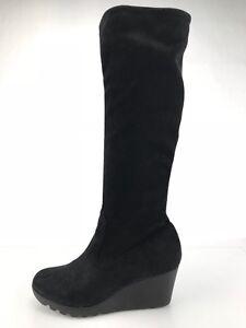 Donald-J-Pliner-Myles-2-Knee-High-Boots-Black-Wedge-Heels-Fashion-Women-039-s-Sz-6M