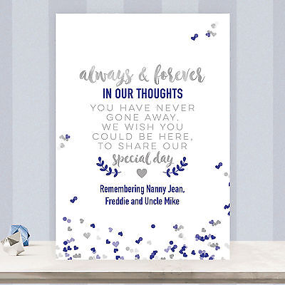 Personalised Wedding Memorial Poem Table Sign Light Blue /& Silver Effect SLB21