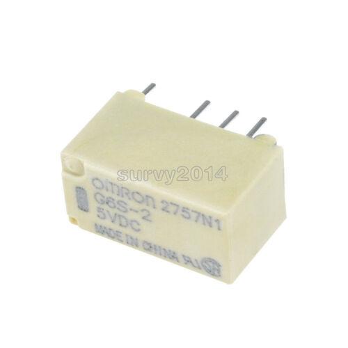 2PCS Omron PCB DPDT Relay G6S-2 5V 2A