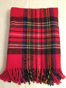 Vtg-Thick-PLAID-WOOL-Blanket-Long-FRINGE-Scrap-51-034-x66-034-Repurpose-UPCYCLE-Sewing