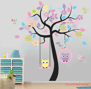 Image Is Loading Giant Colourful Owls Swing Flower Tree Wall Stickers  Part 59