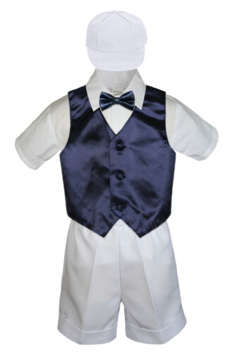 Boy Toddler Formal Navy Dark Blue Vest Bow Tie White Black Gray Hat 5pc Set S-4T