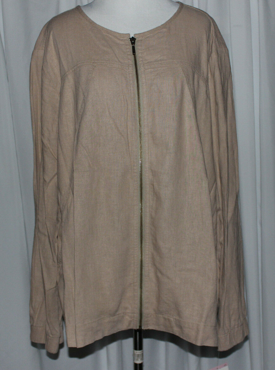 NWT Women's LAURA SCOTT WOMAN Linen Blend Zip Front  Jacket Size 18W