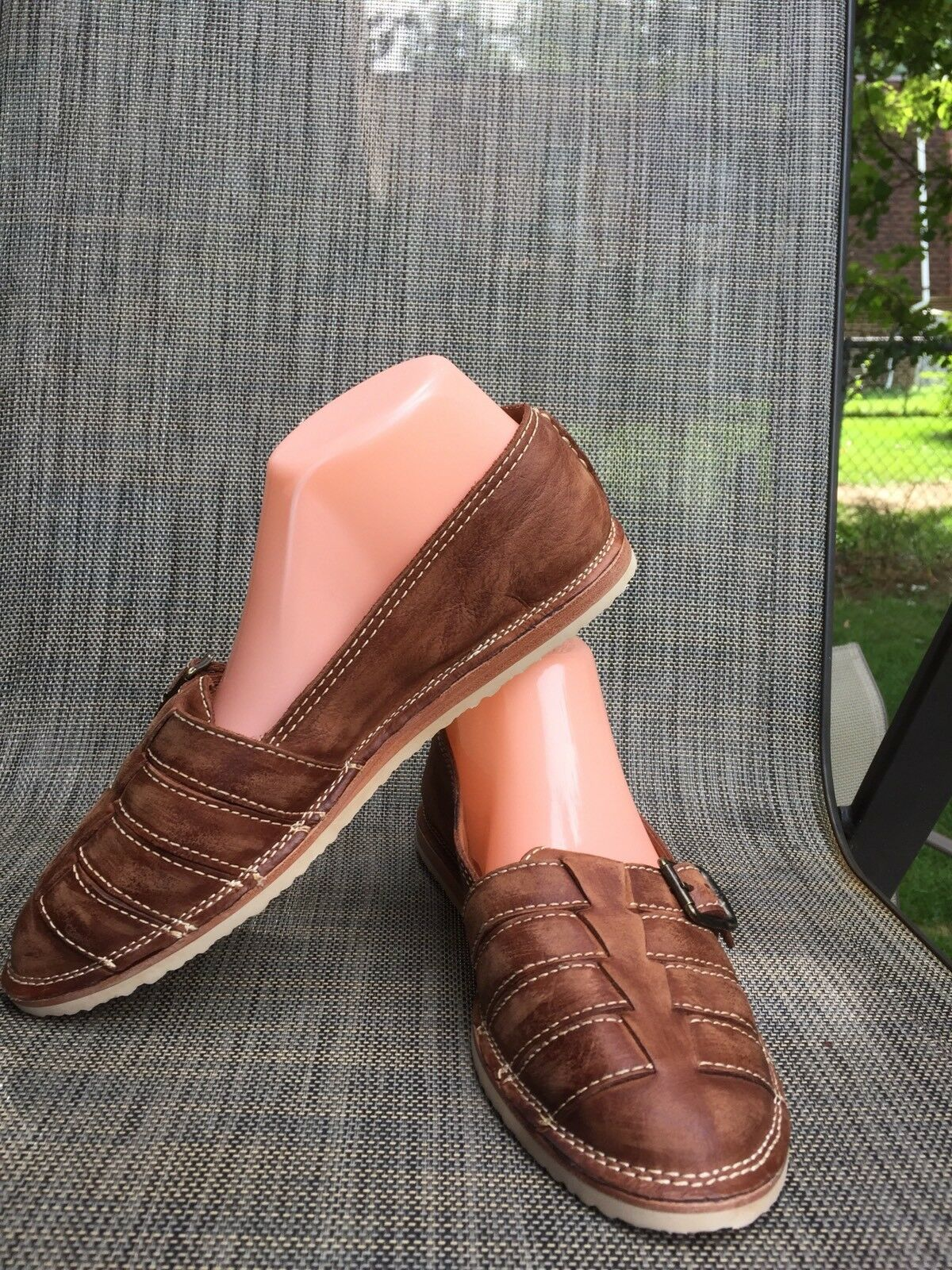 NWOB Fry marron Leather femmes Leather Flat Flat Flat Moccasins Loafer sz.8M w buckle 692c13