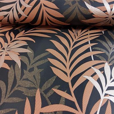 Comme création palm leaf papier peint paillettes motif moderne en relief texturé cuivre