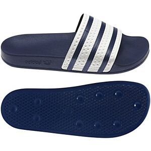 39ee01664b70ae New Adidas ADILETTE Slides Sandals Mens White Navy Blue Beach Flip ...