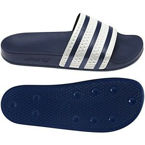bed380323f5f New Adidas ADILETTE Slides Sandals Mens White Navy Blue Beach Flip ...