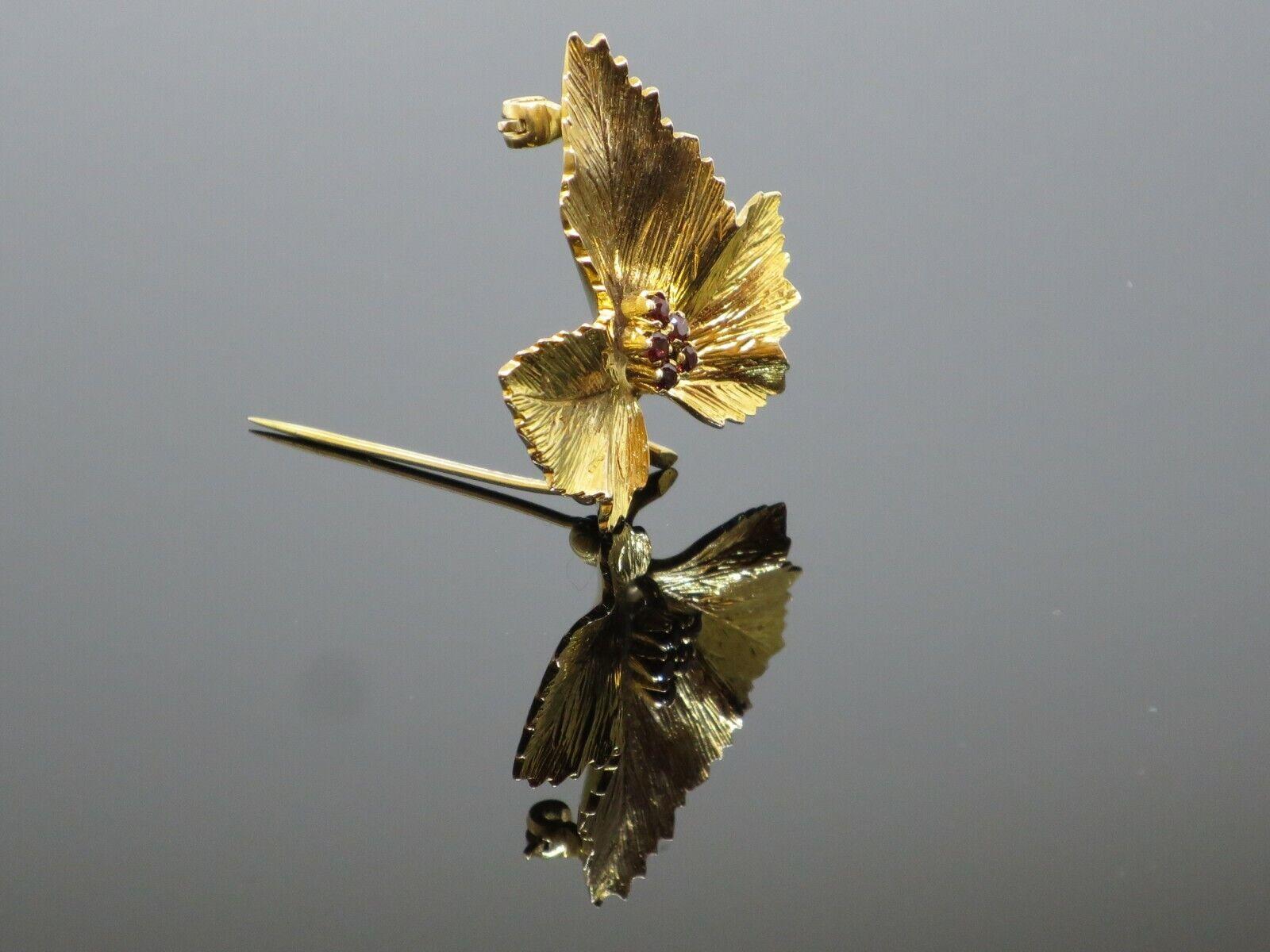 "Vintage ""Sycamore Leaf"" 0.15CTW Garnet 9K Yellow … - image 7"