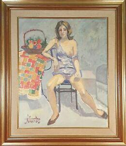NU DE FEMME. HUILE SUR TOILE. SIGNÉ JORDI CURÓS. XX SIECLE.