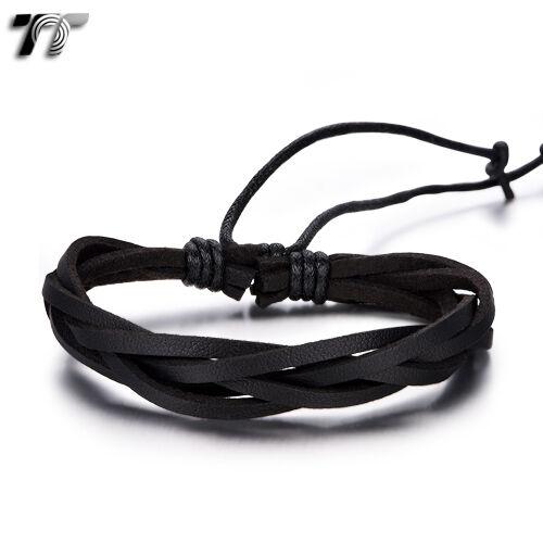 NEW LB316 Quality TT Black Genuine Leather  Bracelet Wristband