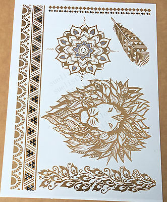 Temporary Metallic Tattoo Gold Silver Black Flash Tattoos Inspired Lion 1pcs