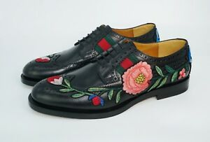 9e4b5f02c Gucci Men's Strand Floral Embroidered Lace-Up Brogues , Black, MSRP ...