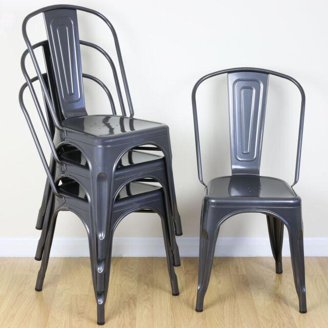 Set Of 4 Gunmetal Metal Dining Chair Kitchen Cafe Bistro Vintage Seat