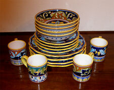 HAND PAINTED GEOMETRIC DERUTA DINNERWARE SET 16 PCS