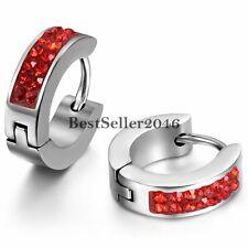 2pcs Mens Womens Stainless Steel Rhinestone Huggie Hinged Hoop Stud Earrings Red