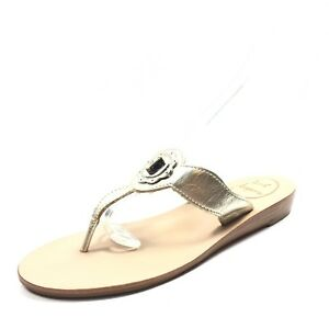 b085a0a459ee New Jack Rogers Lilah Gold Leather Thong Sandals Women s Size 6 M ...